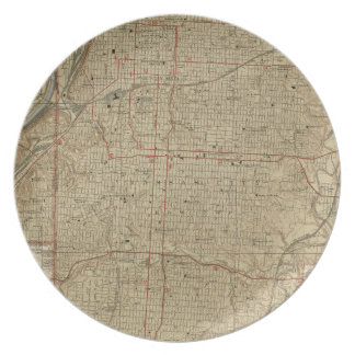 Prato De Festa Mapa do vintage de Kansas City Missouri (1935)