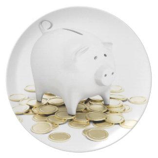 Prato De Festa Mealheiro e moedas