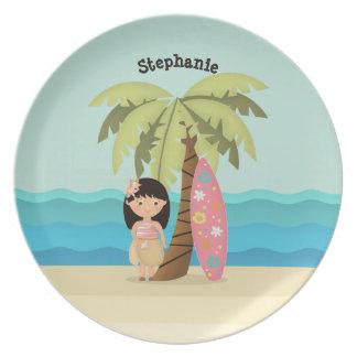 Prato De Festa Menina havaiana do surfista