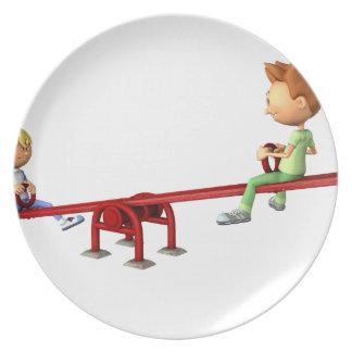 Prato De Festa Meninos dos desenhos animados que têm o