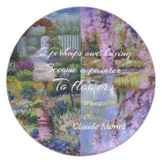 Prato De Festa Mensagem de Monet sobre flores