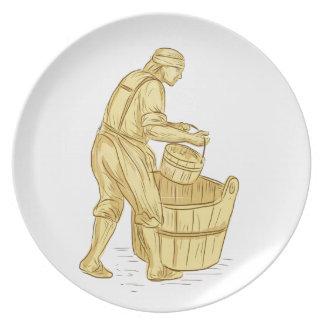 Prato De Festa Miller medieval com desenho do balde
