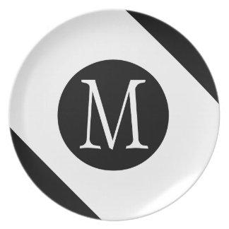 Prato De Festa Monograma branco & preto moderno, simples & à moda