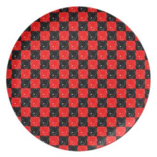 Prato De Festa MTJ branco, vermelho, e preto