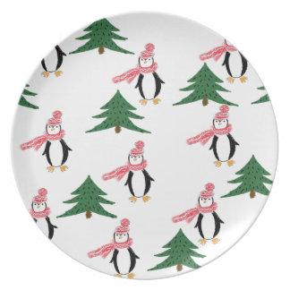 Prato De Festa Muffin do pinguim do Natal