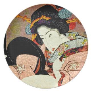 Prato De Festa Mulher bonita no espelho por Utagawa Kunimaru