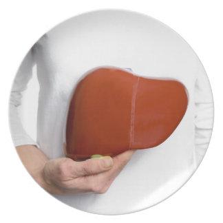 Prato De Festa Mulher que guardara o modelo humano do fígado no