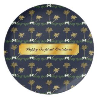 Prato De Festa Natal tropical do azul e do ouro com palmeiras