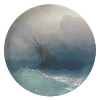 Prato De Festa Navio em mares tormentosos, Ivan Aivazovsky -