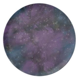 Prato De Festa Nebulosa roxa da galáxia