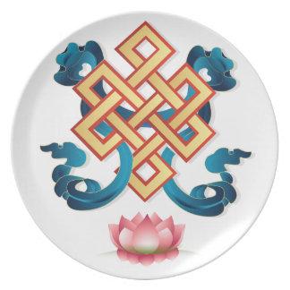 Prato De Festa Nó infinito do símbolo da religião do Mongolian