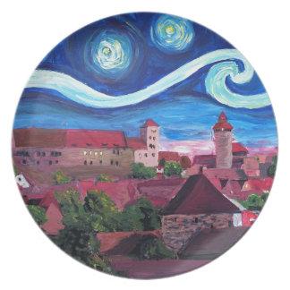 Prato De Festa Noite estrelado em Nuremberg Alemanha com castelo