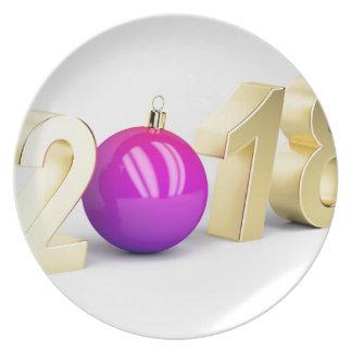 Prato De Festa Número 2018 com bola do Natal