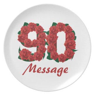 Prato De Festa Número feito sob encomenda do aniversário do 90 do