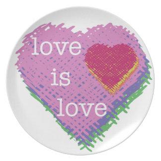 Prato De Festa O amor é placa do coração do amor