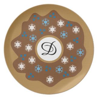 Prato De Festa O azul da rosquinha do Natal do floco de neve