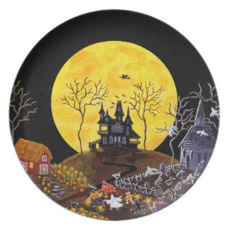 Prato De Festa O Dia das Bruxas, placa, fantasmas, assombrou,