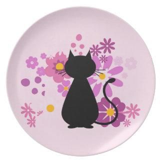 Prato De Festa O gato no rosa floresce a placa da melamina