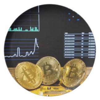 Prato De Festa O mercado do circuito do trio de Bitcoin faz um
