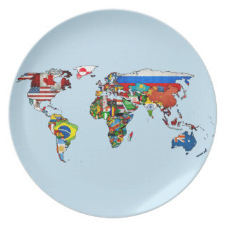 Prato De Festa O mundo embandeira a placa do mapa