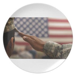 Prato De Festa O soldado sauda a bandeira dos Estados Unidos