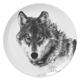 Prato De Festa Olhos inspirados brancos pretos do lobo