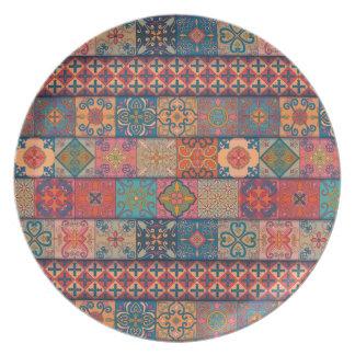 Prato De Festa Ornamento de talavera do mosaico do vintage
