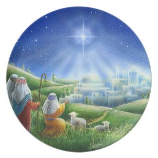 Prato De Festa Os pastores vêm à placa da melamina de Bethlehem
