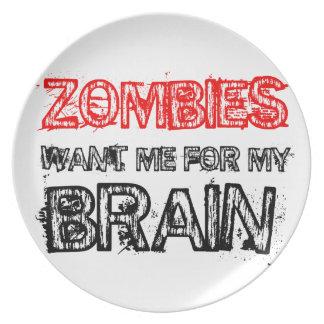 Prato De Festa os zombis querem-me para meu cérebro