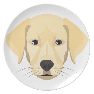 Prato De Festa Ouro Retriver do filhote de cachorro da ilustração