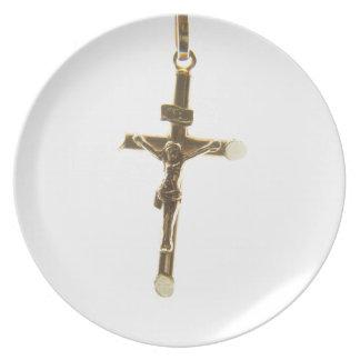 Prato De Festa Ouro transversal do Jesus Cristo horizontal