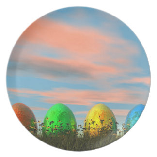 Prato De Festa Ovos coloridos para a páscoa - 3D rendem