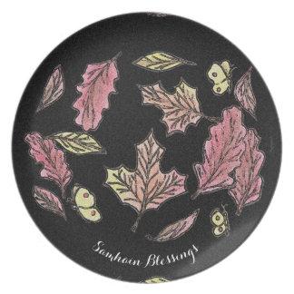 Prato De Festa Pagan de roda de Wiccan da bruxa das folhas de