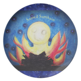 Prato De Festa Pagan de Wiccan da bruxa de Samhain da lua da