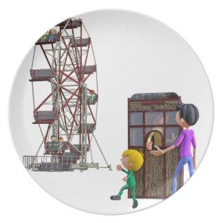 Prato De Festa Pai e filho prontos para montar uma roda de Ferris