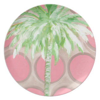 Prato De Festa Palmeira cor-de-rosa das bolinhas da placa