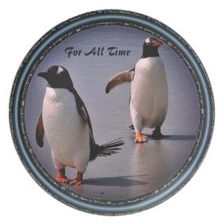 Prato De Festa Para toda a placa de coleção do pinguim do tempo