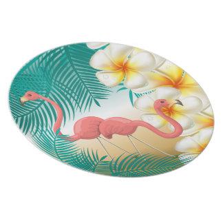 Prato De Festa Paraíso tropical da praia dos flamingos