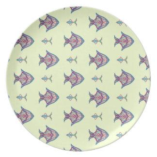 Prato De Festa Peixes do raio X no limão - amarelo