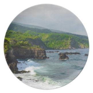 Prato De Festa Penhascos tropicais em Maui Havaí