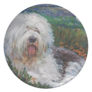 Prato De Festa Pintura inglesa velha bonita da arte do cão do