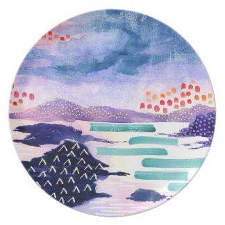 Prato De Festa Placa abstrata colorida da pintura de paisagem