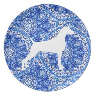 Prato De Festa PLACA azul da MELAMINA do design de Weimaraner