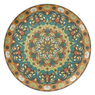 Prato De Festa Placa circular abstrata brilhante da melamina do