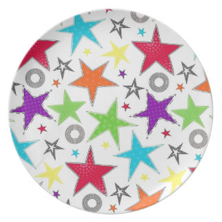 Prato De Festa Placa colorida da melamina da estrela