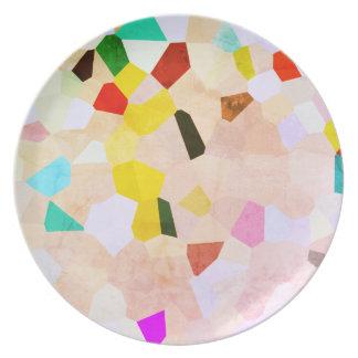 Prato De Festa Placa colorida do teste padrão de mosaico