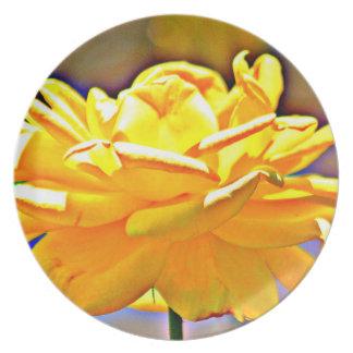Prato De Festa Placa cor-de-rosa cromática amarela da melamina