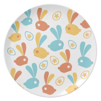 Prato De Festa Placa da ilustração dos coelhinhos da Páscoa
