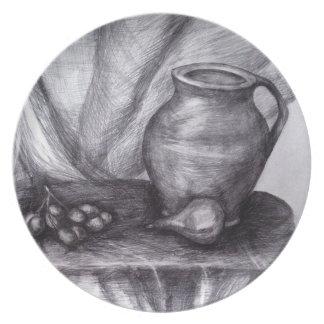 Prato De Festa Placa da melamina do esboço do lápis do desenho do
