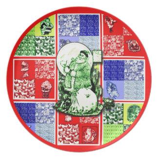 Prato De Festa Placa da melamina do Natal do papai noel do